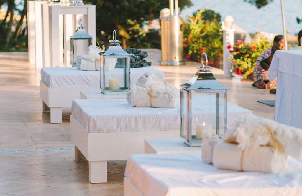 Cardamom Event Hire Ibiza White Lounge Bed