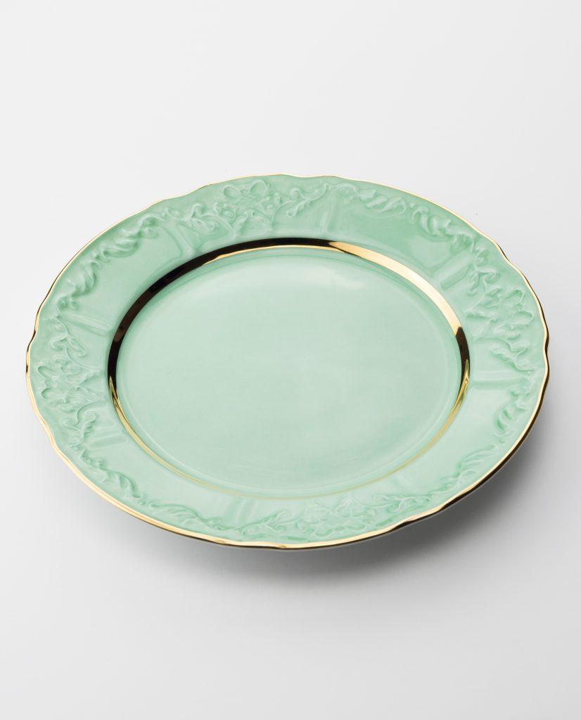 Vintage Plate Green Gold 20 Cm Vj04