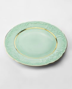 Vintage Plate Green Gold 32cm Vj02