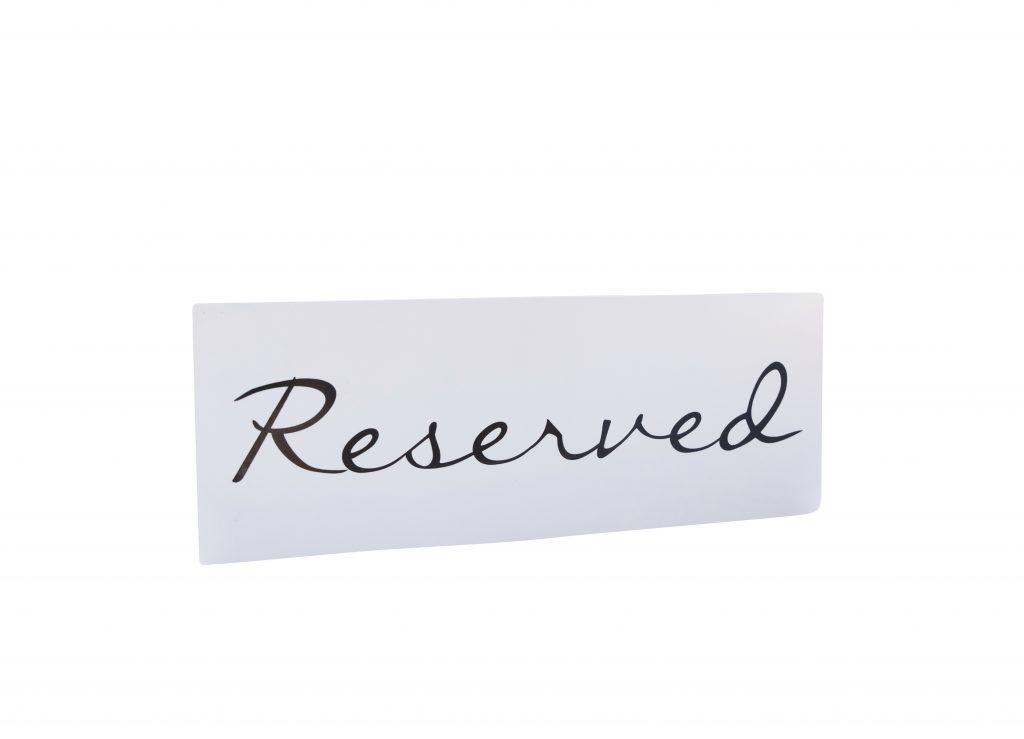 White Reserved Sign Sg09
